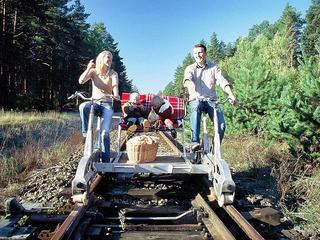 Mecklenburger Draisinenbahn - Fahrt auf der Strecke Karow - Borkow